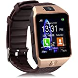 Piqancy DZ09 Smartwatch Bluetooth Sweatproof Phone with Camera TF/SIM Card Slot for Android and Sony Smartphones for Girls & Boys (Gold)