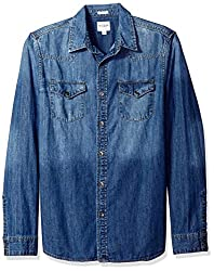 GUESS Mens Casual Shirt (190761726865_M71H13R1C72_Small_Blue)