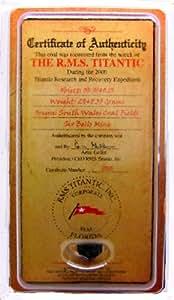 RMS Titanic Charbon Mini certificat de souvenirs authenticity-uk- authentique