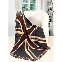 EHC Tagesdecke Hand Gewebten Jacquard 100 Baumwolle Union Jack Single Bett Sofa Decke Picknick Berwurf