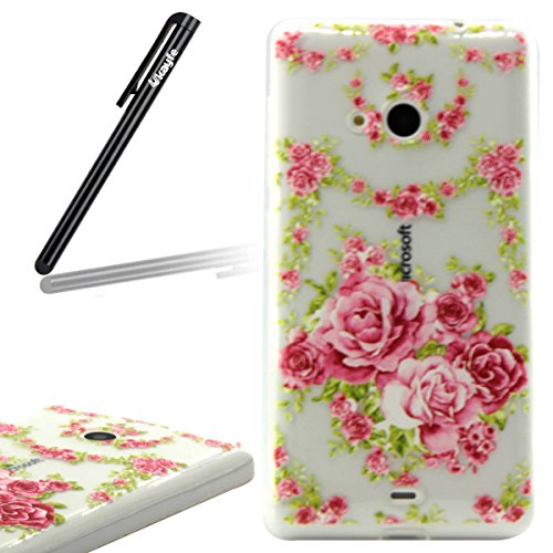 Coque Housse pour iPhone 6, iPhone 6 Silicone Coque Souple Gel Etui, iPhone 6s Transparent Clear Coque Housse, iPhone 6 Portefueille protective Coque, iPhone 6 Soft Silicone Case Slim Cover, Ukayfe Uk Les Roses Roses