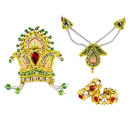 The Holy Mart Gottheity Krone, Halskette, Armreif und Flöte, 2 Größen, Ornamente für Göttinnen, Mukut Mala Chudiya (Flöte Schmuck)