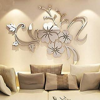 XX&GUO Spiegel Aufkleber 3D Wandaufkleber Fenster Abziehbilder Wand Dekoration TV Hintergrund Deko Wandtatoo - Spiegelfläche Blumen