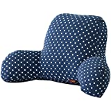 Oficina asiento almohada, lommer lino y algodón cintura lumbar almohada cojín respaldo, algodón, lino, Dark Blue Dots, 20.9x13.8x8.7inch