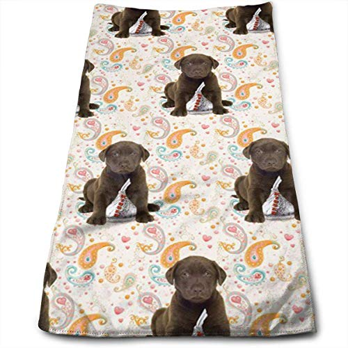 gfhfdjhf Puppy Chocolate Lab Kisses Soft Cotton Large Hand Towel- Multipurpose Bathroom Towels for Hand, Face, Gym and Spa