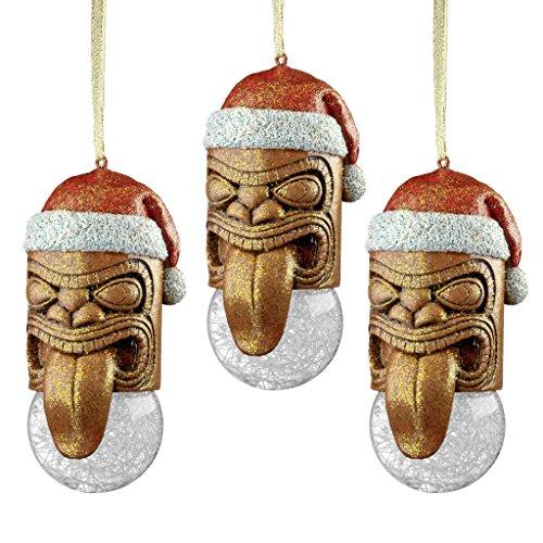 Christbaumschmuck - Lono Tiki Maske Feiertags-Verzierung: Set von drei - Tiki Statue Hawaii-Dekorationen