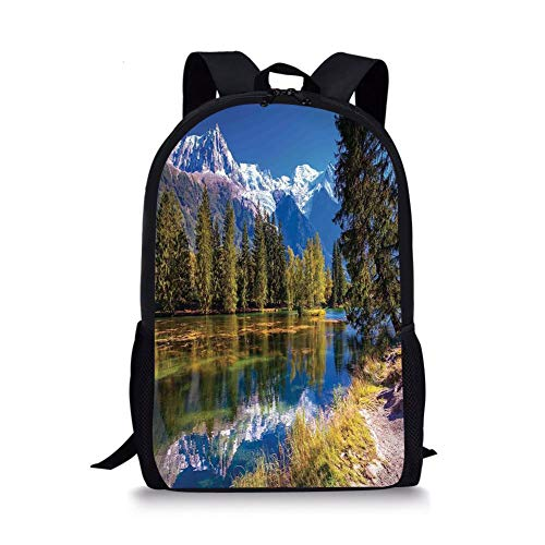 se Decor,Snow Covered Alps Fir Trees in Lake Serenity in Natural Paradise,Green White Blue for Boys&Girls Mens Sport Daypack ()