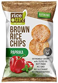 RICE UP Brown Whole Grain Rice Chips Paprika, 60g