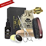 ALIVER Kit de toilettage pour barbe pour homme, ensemble de soin de barbe avec huile de barbe, cire de baume à la barbe de moustache, brosse à barbe, peigne à barbe, ciseaux de barbier