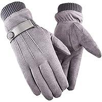 Guantes de gamuza Manoplas, otoño invierno para hombres Engrosamiento del calor más guantes de terciopelo para montar en bicicleta y pantalla táctil al aire libre (talla única, mujeres) ( Color : A )