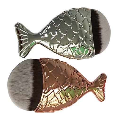 Robinson Mermaid Fish Scale Design Fishtail Face Loose Powder Blush Cream Concealer Foundation Brush Makeup Brush Tool (Gold)