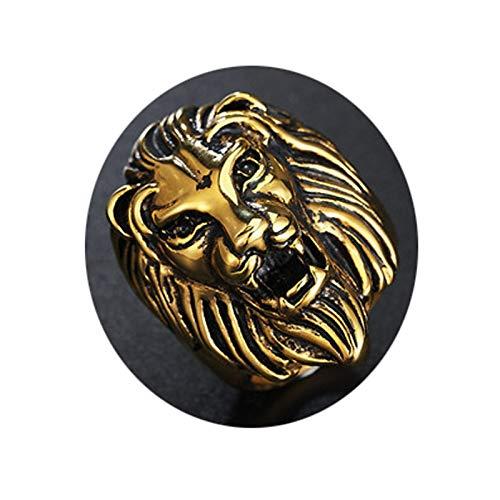Blisfille Ringe Herren Ring Herren Gold Löwenkopf Gold Ring Gr. 57 (18.1) 36mm 27g Gothic Ring (Wie Aqu)