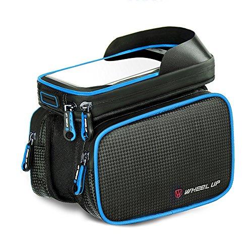 Fahrradtasche Rahmentaschen, Fozela Fahrrad Handy Rahmen Tasche Lenkertasche Satteltasche Doppeltasche Geeignet für ALLE Fahrradtypen Blue