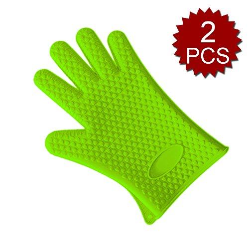 Aspire Lot de 2 maniques, gants de cuisine résistant à la chaleur barbecue, barbecue en silicone de qualité, Green, Taille unique