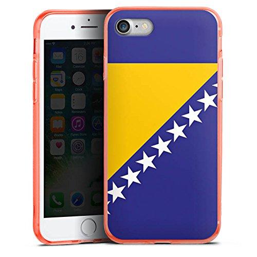 Apple iPhone 7 Silikon Hülle Case Schutzhülle Bosnien Flagge Fußball Silikon Colour Case neon-orange