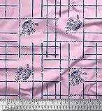 Soimoi Rosa Georgette Viskose Stoff Blätter & geometrisch