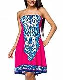 Pinkes gesmoktes Sommerkleid mit buntem Muster Paisley Muster Strandkleid Schulterfrei