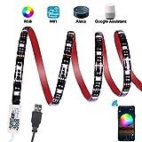 WiFi Tira LED TV, ALED LIGHT 2.2M Impermeable USB Tiras de LED Iluminación Retroiluminación APP Controlada Luces Led Coche Soporte Alexa, Google Home para 40-60'' HDTV, PC, Exteriores(2x50+2x60)