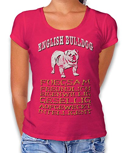 Hund English Bulldog Damen T-Shirt Fuchsia 2XL (T-shirt Bulldog Damen Rosa)