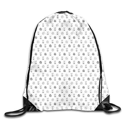 HLKPE Drawstring Backpacks Bags Daypacks,Black and White Pattern Hand Drawn Style Rabbits with Bowties and Patterned Eggs,5 Liter Capacity Adjustable for Sport Gym Traveling - Royal Blue Bowties