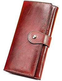 Monedero de Mujer Billeteras Largo de Gran Capacidad con RFID Bloqueo Cera Piel Genuina,Cartera con Caja de Regalo