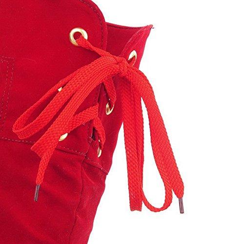VogueZone009 Damen Hoher Absatz Nubukleder Metalldekoration Schnüren Stiefel Rot