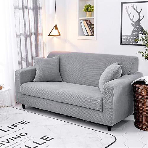 femor Sofabezug Sofa Überwürfe 2/3 Sitzer Stretch elastische Sofahusse Sofa Abdeckung mit Rutschfester elastischer Unterseite (Grau, 3 Sitzer, für Sofalänge 185-235cm)
