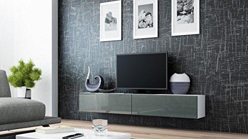 Tv Schrank Hängeschrank Lowboard VIGO in MDF Hochglanz Pusch Click Farbauswahl (weiß / grau hochglanz)