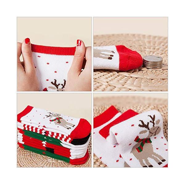 MMTX Navidad calcetín lindo de algodón Animal de dibujos animados reno de Santa Claus antideslizante Unisex 6 pares… 3