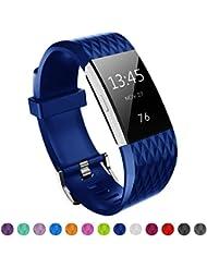 Kutop für Fitbit Charge 2 Armband, TPU weiches Silikon sports Ersetzerband Silikagel Diamond Pattern Fitness verstellbares Uhrenarmband für Fitbit Charge 2