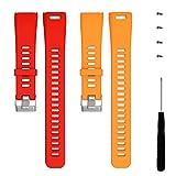 Turnwin for Vivosmart HR Bands, Replacement Bands & Screws Tool for Garmin vivosmart HR Bracelet Smart Wristband Wireless Activity Bracelet Sports Bracelet Arm Band Armband, Red+Orange