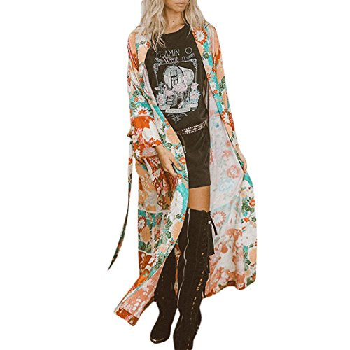 TWIFER Damen Cardigan Chiffon Schal Print Kimono Top Gürtel Cover Up Bluse Beachwear (L, Orange) -