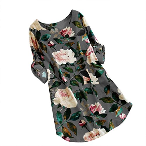 umwolle Und Leinen Kleid Drucken Lose Frauen Blumendruck Minikleid Sommer Party Langarm Plus GrößE (5XL, Grau) ()