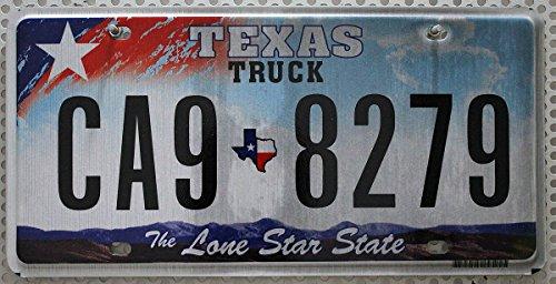 Preisvergleich Produktbild USA Nummernschild TEXAS ~ US Kennzeichen LONE STAR STATE ~ Blechschild mit Sternmotiv in Weiß und Hintergrund mit blauem Himmel / Wolken