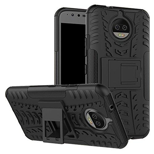Moto G5S Plus/Moto G5S + Fall, nokea Dual Layer [Tropfen Schutz] Dämpfung Schutzhülle mit Standfuß Combo PC + TPU Rückseite für Motorola Moto G5S Plus 2017, Schwarz