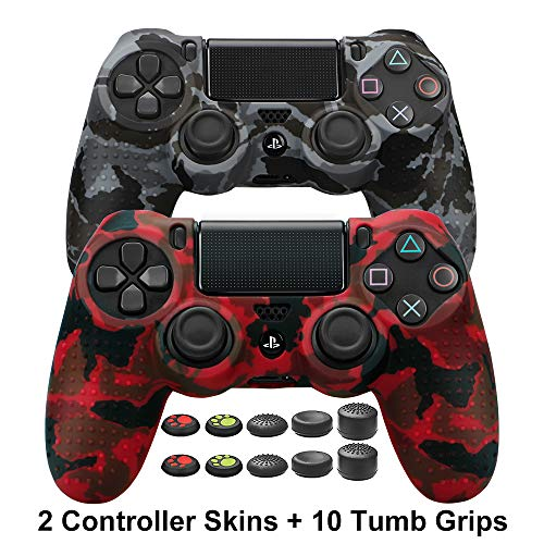 COOCODE PS4 Controller DualShock 4 Skin Grip Anti-Rutsch-Silikonhülle für Sony PS4 / PS4 Slim / PS4 Pro Controller mit 10 Daumengriffen Red Camo+Urban Camo