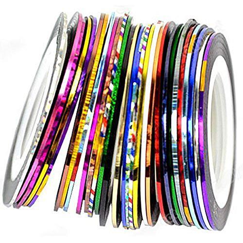 Ogquaton Kreative Striping Tape Stripes Nail Art Streifen Laser Aufkleber DIY Dekoration Design 10 Rolle -