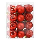 24PCs Home Dekoration Weihnachten Ornaments Loveso Weihnachtskugeln Christmas Balls Kugeln Partei Baum Docoration (7 Farben) (9X6X12cm, Rot)