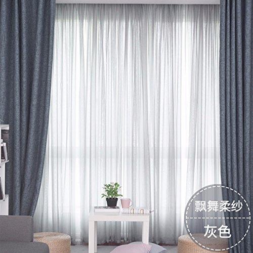 Tende rousha tende sbatteva sono trasparenti finestra sipario stoffa semplice pura salotto camera balcone,e,100 x 270 cm (w x h) x 2