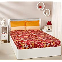 Amazon Brand - Solimo Floral Foliage 144 TC 100% Cotton Double Bedsheet with 2 Pillow Covers, Red