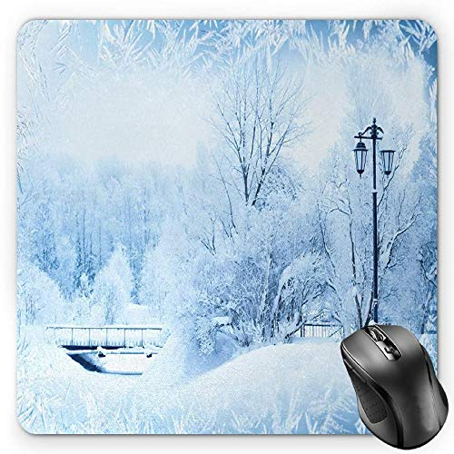 BGLKCS Winter Mauspads Mouse Pad, Winter Trees in Wonderland Theme Christmas New Year Scenery Freezing Icy Weather, Standard Size Rectangle Non-Slip Rubber Mousepad, Blue White