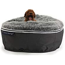 Ambient Lounge - Puf para Perros y Gatos con asa de Transporte y Funda de Piel