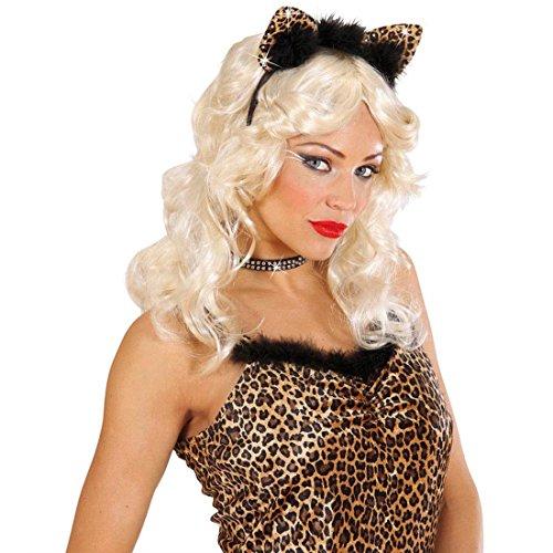 NET TOYS Leopard Ohren mit Strass Leo Haarreif mit Federn Süße Leopardenohren Lady Tierohren Panther Haarreifen Sexy Katzenohren Kostüm Accessoire Damen (Panther Kostüm Ohren)