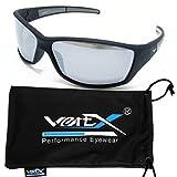 VertX Herren polarisierte Sonnenbrille Sport Radfahren im freien Weichgummi-Finish – Schwarz and Silberrahmen – Spiegel-Objektiv