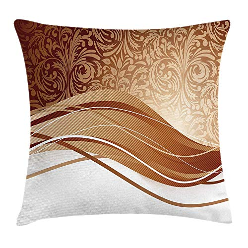 EJjheadband Chocolate Throw Pillow Cushion Cover, Brown Toned Classical Medieval Foliage Motifs with Curved Stripes Pattern, Decorative Square Accent Pillow Case, 18 X 18 inches, Pale Brown Beige