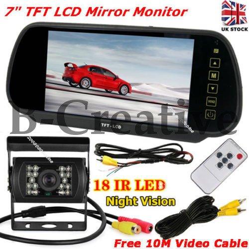 b-creative 17,8cm TFT LCD Spiegel Monitor Porsche 356, 718Boxter, 718Cayman, Panamera 18LEDs IR Backup Kamera (Porsche-backup-kamera)