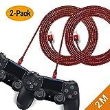 EXINOZ Câble Chargeur Tressé de 2m pour Manette PS4 DualShock et Xbox One   Câble...