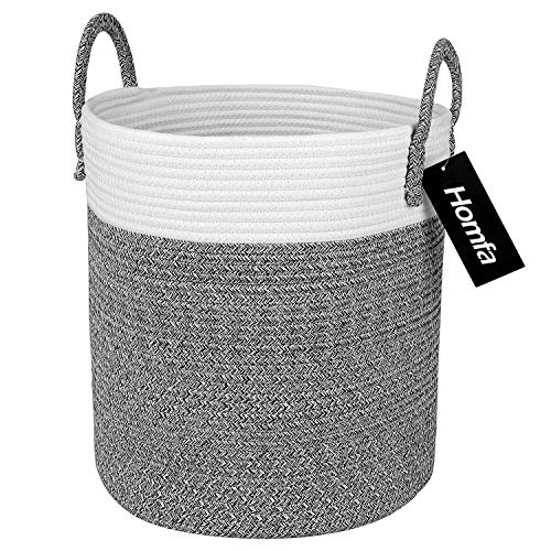 Homfa cesto portaoggetti in corda di cotone, rotonda portabiancheria pieghevole con manico, cesto della biancheria per la cameretta dei bambini, grigio+bianco