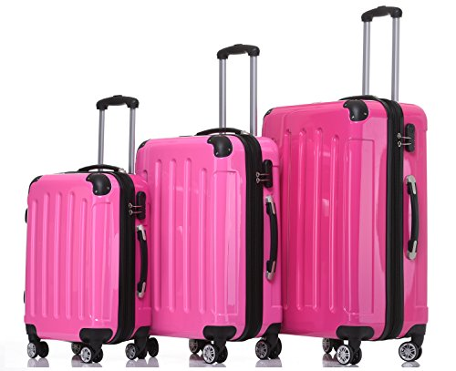 BEIBYE Zwillingsrollen 2048 Hartschale Trolley Koffer Reisekoffer in M-L-XL-Set in 17 Farben (Pink, Set)