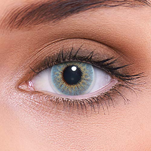 """Stark deckende natürliche blaue Kontaktlinsen farbig """"Marble Blue"""" + Behälter von LENZOTICA I 1 Paar (2 Stück) I DIA 14.00 I ohne Stärke"""